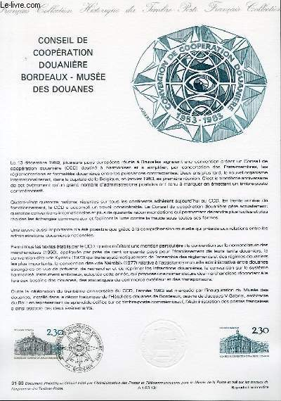 DOCUMENT PHILATELIQUE OFFICIEL N°31-83 - CONSEIL DE COOPERATION DOUANIERE BORDEAUX - MUSEE DES DOUANES (N°2289 YVERT ET TELLIER)