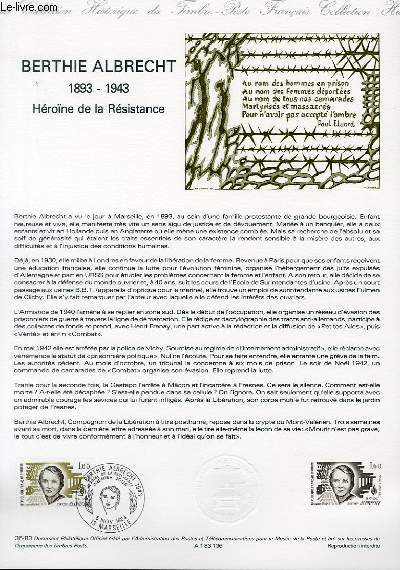 DOCUMENT PHILATELIQUE OFFICIEL N°36-83 - BERTHE ALBRECHT 1893-1943 - HEROINE DE LA RESISTANCE (N°2294 YVERT ET TELLIER)