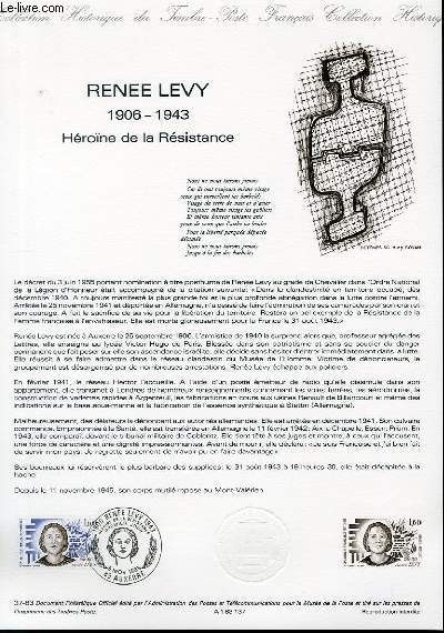 DOCUMENT PHILATELIQUE OFFICIEL N�37-83 - RENEE LEVY 1906-1943 HEROINE DE LA RESISTANCE (N�2293 YVERT ET TELLIER)