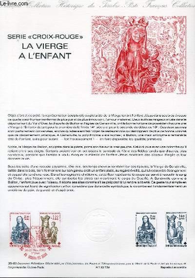 DOCUMENT PHILATELIQUE OFFICIEL N°39-83 - SERIE CROIX ROUGE - LA VIERGE A L'ENFANT (N°2295-96 YVERT ET TELLIER)