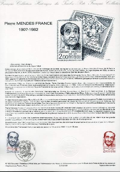DOCUMENT PHILATELIQUE OFFICIEL N�41-83 - PIERRE MENDEZ FRANCE 1907-1982 (N�2298 YVERT ET TELLIER)