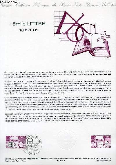 DOCUMENT PHILATELIQUE OFFICIEL N°01-84 - EMILE LITTRE 1801-1881 (N°2328 YVERT ET TELLIER)