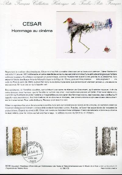 DOCUMENT PHILATELIQUE OFFICIEL N°03-84 - CESAR - HOMMAGE AU CINEMA (N°03-84 YVERT ET TELLIER)