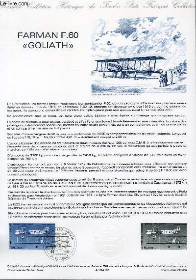 DOCUMENT PHILATELIQUE OFFICIEL N°05BIS-84 - FARMAN F.60