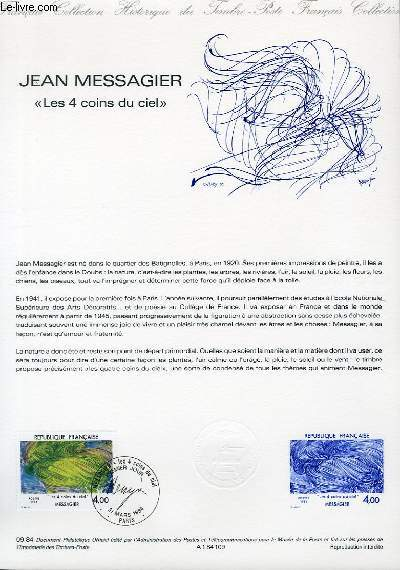 DOCUMENT PHILATELIQUE OFFICIEL N°09-84 - JEAN MESSAGIER