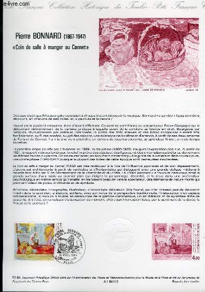 DOCUMENT PHILATELIQUE OFFICIEL N°10-84 - PIERRE BONNARD 1867-1947