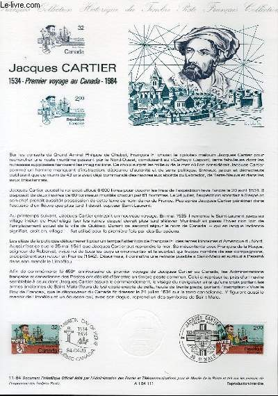 DOCUMENT PHILATELIQUE OFFICIEL N°11-84 - JACQUES CARTIER 1534 - PREMIER VOYAGE AU CANADA 1984 (N°2307 YVERT ET TELLIER)