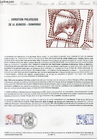 DOCUMENT PHILATELIQUE OFFICIEL N°12-84 - EXPOSITION PHILATELIQUE DE LA JEUNESSE - DUNKERQUE (N°2308 YVERT ET TELLIER)