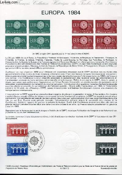 DOCUMENT PHILATELIQUE OFFICIEL N�13-84 - EUROPA 84 (N�2309-10 YVERT ET TELLIER)