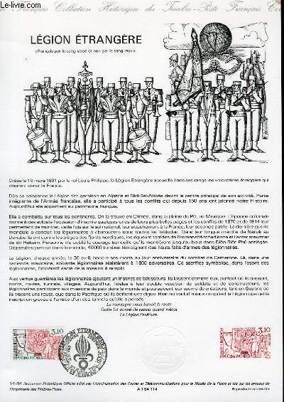 DOCUMENT PHILATELIQUE OFFICIEL N�14-84 - LEGION ETRANGERE (N�2311 YVERT ET TELLIER)
