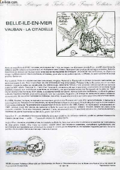 DOCUMENT PHILATELIQUE OFFICIEL N°16-84 - BELLE ILE EN MER - VAUBAN - LA CITADELLE (N°2325 YVERT ET TELLIER)