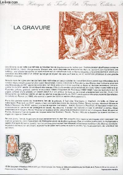 DOCUMENT PHILATELIQUE OFFICIEL N°18-84 - LA GRAVURE (N°2315 YVERT ET TELLIER)