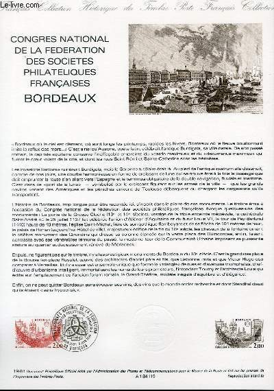 DOCUMENT PHILATELIQUE OFFICIEL N°19-84 - CONGRES NATIONAL DE LA FEDERATION DES SOCIETES PHILATELIQUES FRANCAISES BORDEAUX (N°2316 YVERT ET TELLIER)