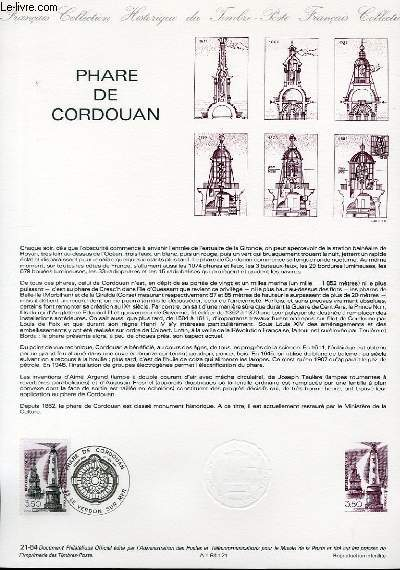 DOCUMENT PHILATELIQUE OFFICIEL N°21-84 - PHARE DE CORDOUAN (N°2326 YVERT ET TELLIER)