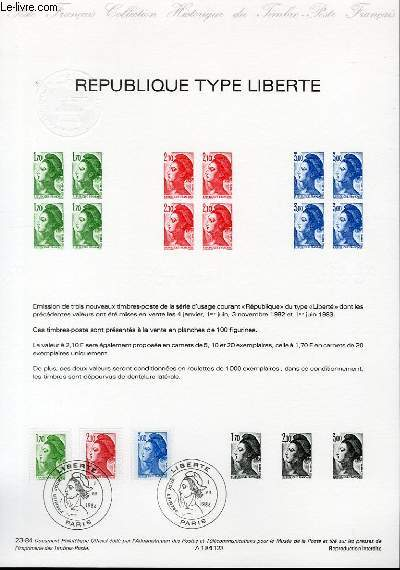 DOCUMENT PHILATELIQUE OFFICIEL N°23-84 - REPUBLIQUE TYPE LIBERTE (N°2318-20 YVERT ET TELLIER)