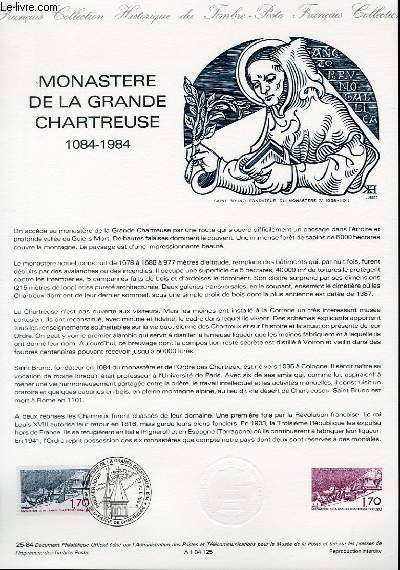 DOCUMENT PHILATELIQUE OFFICIEL N°25-84 - MONASTERE DE LA GRANDE CHARTREUSE 1084-1984 (N°2323 YVERT ET TELLIER)