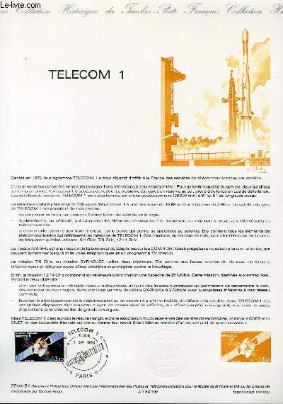 DOCUMENT PHILATELIQUE OFFICIEL N°26BIS-84 - TELECOM 1 (N°2333 YVERT ET TELLIER)