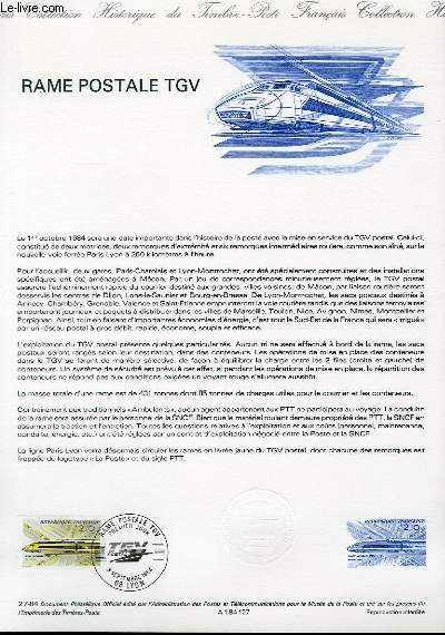 DOCUMENT PHILATELIQUE OFFICIEL N°27-84 - RAME POSTALE TGV (N°2334 YVERT ET TELLIER)