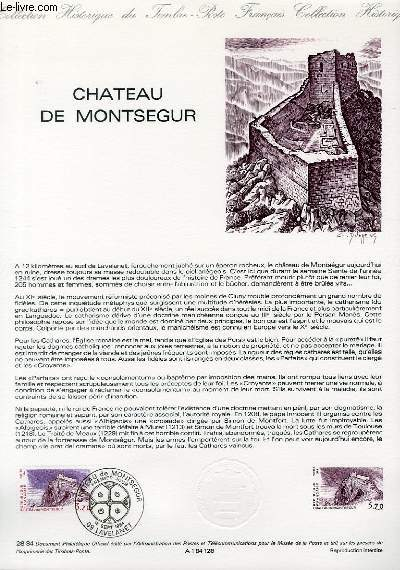 DOCUMENT PHILATELIQUE OFFICIEL N°28-84 - CHATEAU DE MONTSEGUR (N°2335 YVERT ET TELLIER)
