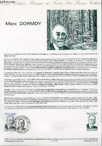 DOCUMENT PHILATELIQUE OFFICIEL N°29-84 - MARX DORMOY (N°2336 YVERT ET TELLIER)