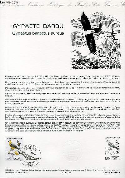 DOCUMENT PHILATELIQUE OFFICIEL N°30-84 - GYPAETE BARBU - GYPAETUS BARBATUS AUREUS (N°2337 YVERT ET TELLIER)