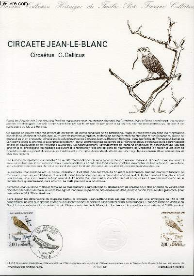 DOCUMENT PHILATELIQUE OFFICIEL N°31-84 - CIRCAETE JEAN LE BLANC - CIRCAETUS G. GALLICUS (N°2338 YVERT ET TELLIER)