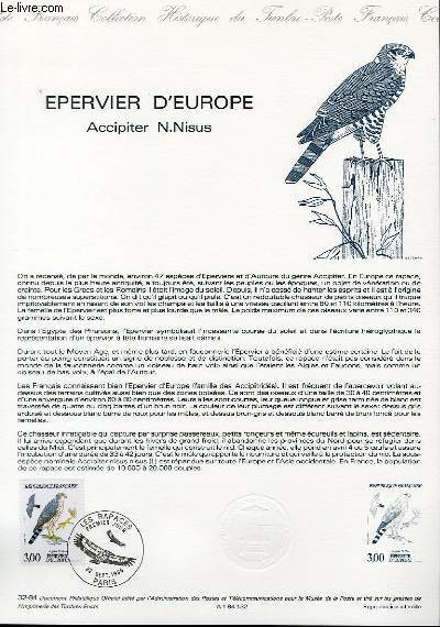 DOCUMENT PHILATELIQUE OFFICIEL N°32-84 - EPERVIER D'EUROPE - ACCIPITER N. NISUS (N°2339 YVERT ET TELLIER)