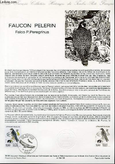 DOCUMENT PHILATELIQUE OFFICIEL N°33-84 - FAUCON PELERIN - FALCO P. PEREGRINUS (N°2340 YVERT ET TELLIER)