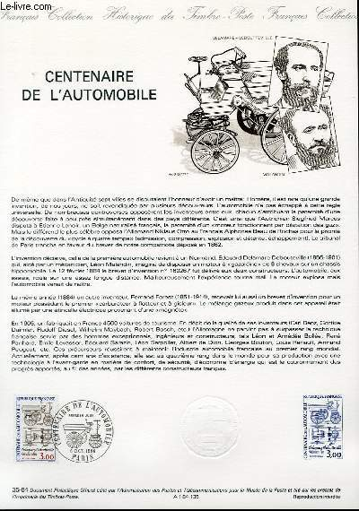 DOCUMENT PHILATELIQUE OFFICIEL N°35-84 - CENTENAIRE DE L'AUTOMOBILE (N°2341 YVERT ET TELLIER)
