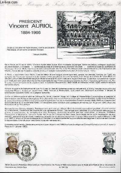 DOCUMENT PHILATELIQUE OFFICIEL N°38-84 - PRESIDENT VINCENT AURIOL 1884-1966 (N°2344 YVERT ET TELLIER)