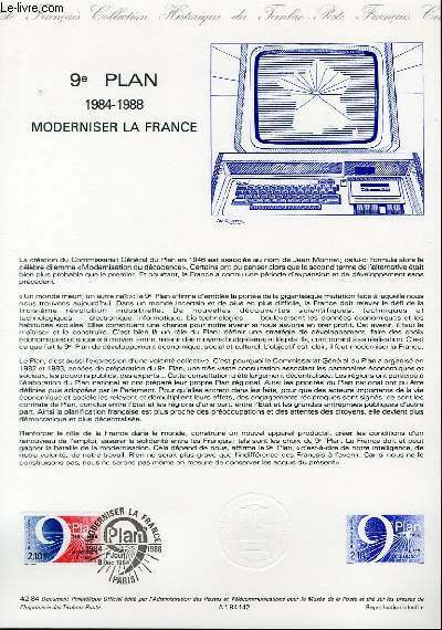 DOCUMENT PHILATELIQUE OFFICIEL N�42-84 - 9� PLAN 1984-1988 MODERNISER LA FRANCE (N�2346 YVERT ET TELLIER)