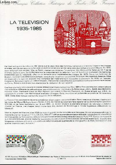 DOCUMENT PHILATELIQUE OFFICIEL N°03-85 - 50° DE LA TELEVISION 1935-1985 (N°2352 YVERT ET TELLIER)
