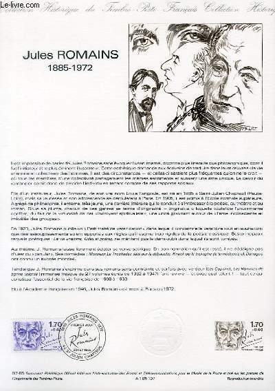 DOCUMENT PHILATELIQUE OFFICIEL N°07-85 - JULES ROMAINS 1885-1972 (N°2356 YVERT ET TELLIER)