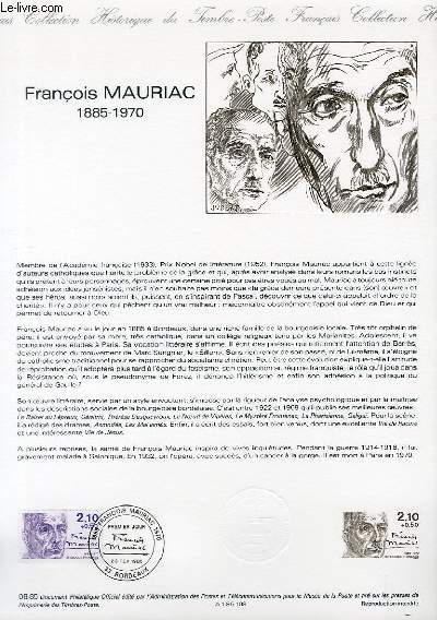 DOCUMENT PHILATELIQUE OFFICIEL N°08-85 - FRANCOIS MAURIAC 1885-1970 (N°2360 YVERT ET TELLIER)