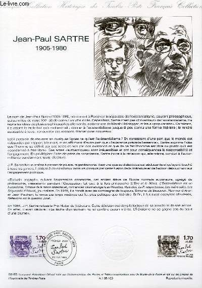 DOCUMENT PHILATELIQUE OFFICIEL N�09-85 - JEAN-PAUL SARTRE 1905-1980 (N�2357 YVERT ET TELLIER)