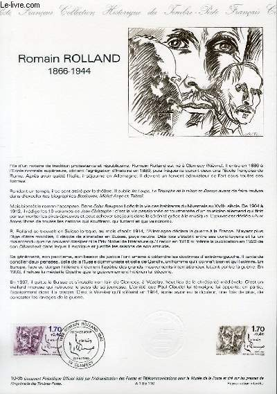 DOCUMENT PHILATELIQUE OFFICIEL N°10-85 - ROMAIN ROLLAND 1866-1944 (N°2355 YVERT ET TELLIER)