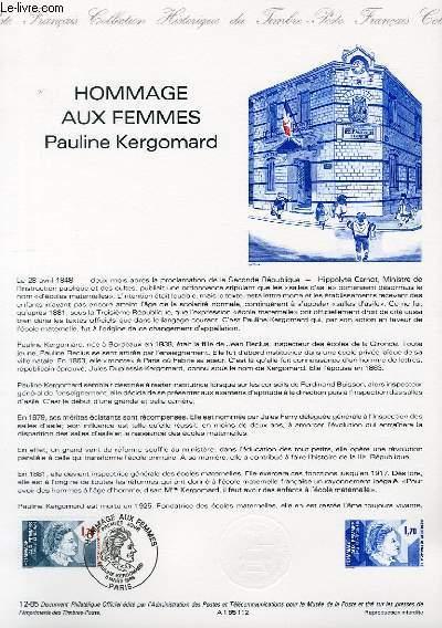 DOCUMENT PHILATELIQUE OFFICIEL N°12-85 - HOMMAGE AUX FEMMES - PAULINE KERGOMARD (N°2361 YVERT ET TELLIER)