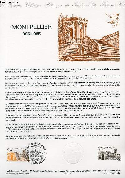 DOCUMENT PHILATELIQUE OFFICIEL N°14-85 - MONTPELLIER 985-1985 (N°2350 YVERT ET TELLIER)