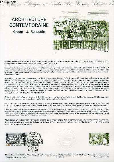 DOCUMENT PHILATELIQUE OFFICIEL N°16-85 - ARCHITECTURE CONTEMPORAINE - GIVORS - J. RENAUDIE (N°2365 YVERT ET TELLIER)