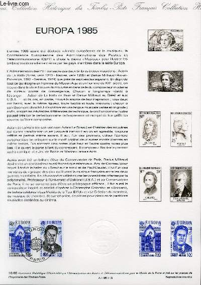 DOCUMENT PHILATELIQUE OFFICIEL N°18-85 - EUROPA 1985 (N°2366-67 YVERT ET TELLIER)
