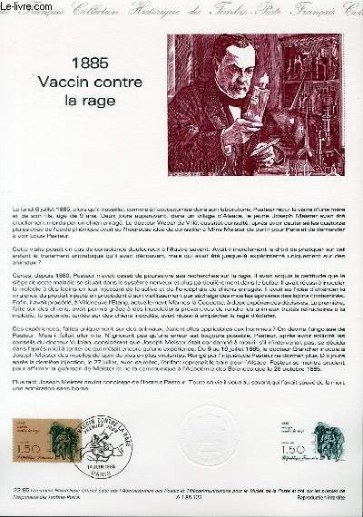 DOCUMENT PHILATELIQUE OFFICIEL N�22-85 - 1885 VACCIN CONTRE LA RAGE (N�2371 YVERT ET TELLIER)