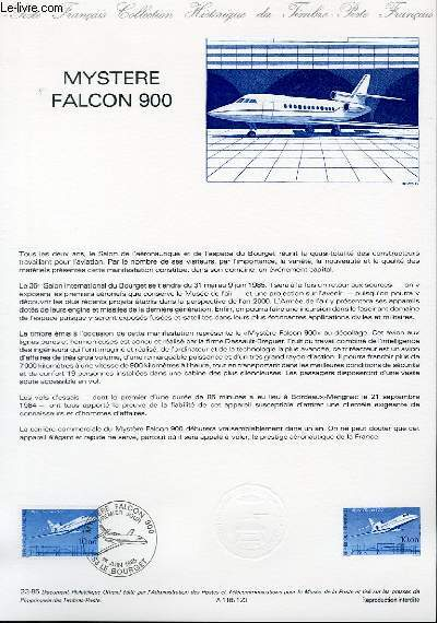 DOCUMENT PHILATELIQUE OFFICIEL N°23-85 - MYSTERE FALCON 900 (N°2372 YVERT ET TELLIER)