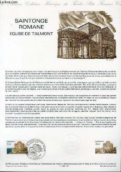 DOCUMENT PHILATELIQUE OFFICIEL N°24-85 - SAINTONGE ROMANE - EGLISE DE TALMONT (N°2352 YVERT ET TELLIER)