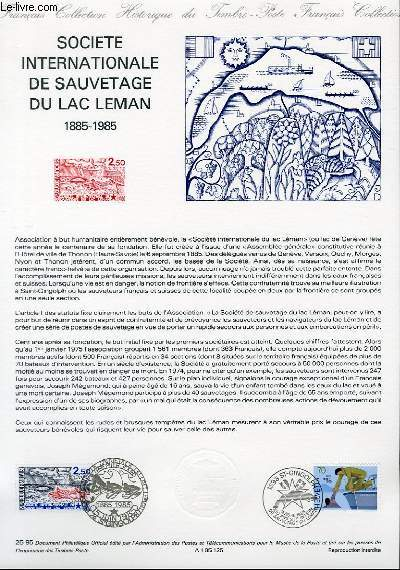 DOCUMENT PHILATELIQUE OFFICIEL N°25-85 - SOCIETE INTERNATIONALE DE SAUVETAGE DU LAC LEMAN 1885-1985 (N°2373 YVERT ET TELLIER)