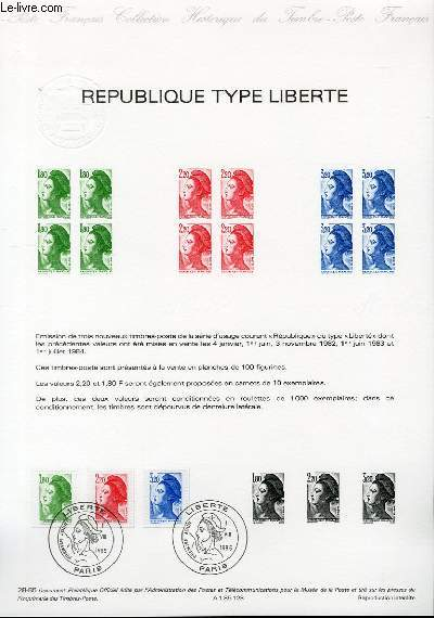 DOCUMENT PHILATELIQUE OFFICIEL N°28-85 - REPUBLIQUE TYPE LIBERTE (N°2375-77 YVERT ET TELLIER)