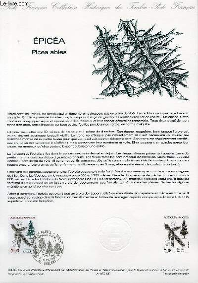 DOCUMENT PHILATELIQUE OFFICIEL N�33-85 - EPICEA - PICEA ABIES (N�2387 YVERT ET TELLIER)
