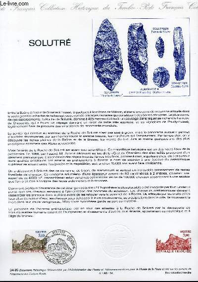 DOCUMENT PHILATELIQUE OFFICIEL N°34-85 - SOLUTRE (N°238 YVERT ET TELLIER)