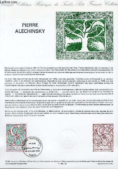 DOCUMENT PHILATELIQUE OFFICIEL N°35-85 - PIERRE ALECHINSLY (N°2382 YVERT ET TELLIER)