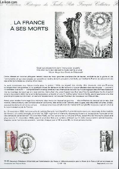 DOCUMENT PHILATELIQUE OFFICIEL N°36-85 - LA FRANCE A SES MORTS (N°2389 YVERT ET TELLIER)