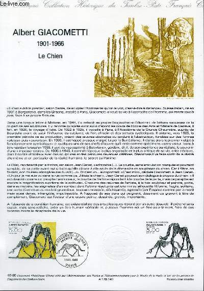 DOCUMENT PHILATELIQUE OFFICIEL N°40-85 - ALBERT GIACOMETTI 1901-1966 - LE CHIEN (N°2383 YVERT ET TELLIER)